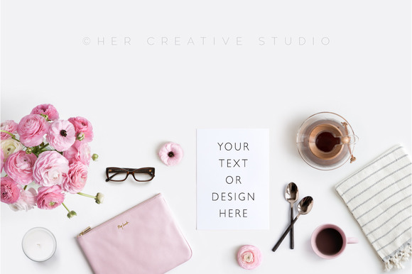 Feminine Flat Lay Stock Photo