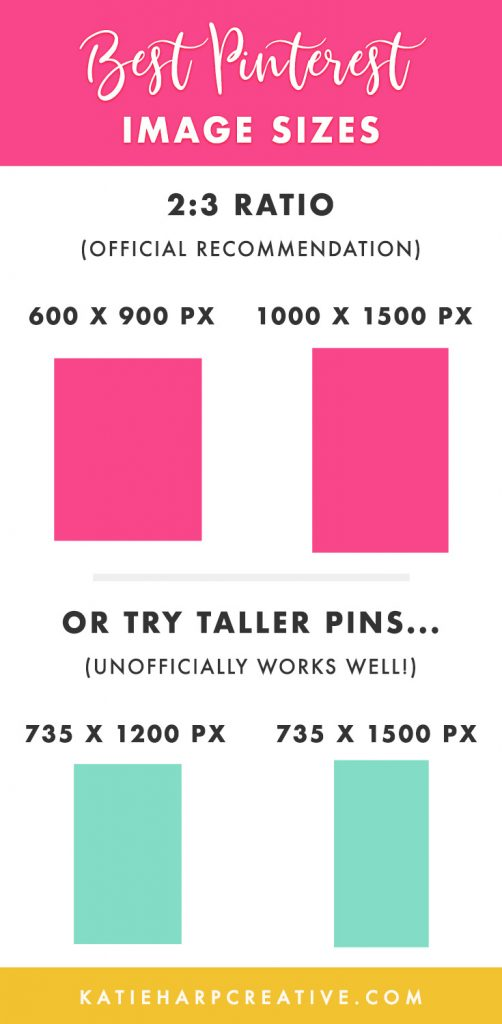 Best Pinterest Image Sizes. Feel free to share this Pinterest image size infographic as long as you link back to Katie Harp Creative.